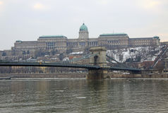 View on Szechenyi Chain Bridge and Buda Castle. Budapest, Hungary. February 2012 Royalty Free Stock Photography