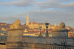View from Szechenyi Chain Bridge on Matthias Church, Budapest. Hungary. February 2012 Royalty Free Stock Photos