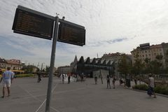 Budapest bus station close buda center. View of t the historic city of Budapest Hungary through the arches of the castle Royalty Free Stock Photography