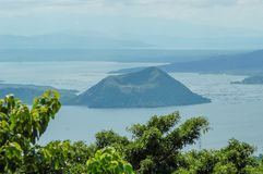 A view of the Taal Volcano in The Phiippines. Part of The Pacific Ring of Fire, the Taal Volcano is on the Filipino island of Luzon and is a popular location to Royalty Free Stock Photo