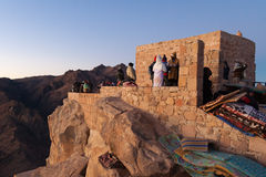 Pilgrims on the top of Mount Moses awaiting the sunrise. Royalty Free Stock Image