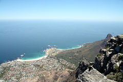 View from Table Mountain. Down to the towns and coastline of Cape Town and the Cape Peninsula (South Africa stock photo