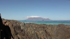 View of Table Mountain from Bloubergstrand, Cape Town, South Africa stock video footage
