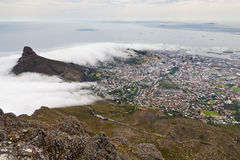 View from table mountain on Cape town Royalty Free Stock Images