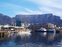 View of Table Mountain from Cape Town stock images