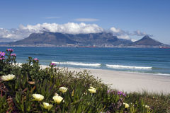 View of table mountain and Cape Town, South Africa. View of table mountain and the city of Cape Town from Bloubergstrand, South Africa royalty free stock photos