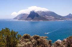 View of table mountain in the clouds and Cape Town, South Africa. stock image