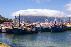 View of table mountain in the clouds and Cape Town, South Africa. royalty free stock photography