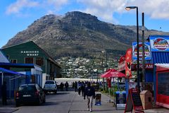 View of Table Mountain from Hout Bay, South Africa stock photography