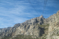 View from the table mountain to the cable car Royalty Free Stock Photo