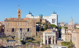 View of the Tabularium, the Arch of Septimius Severus and Altare della Patria from the Palatine hill, Rome, Italy. The Tabularium was the official records Stock Photography
