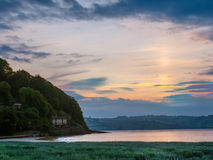 View of the Taf  tidal estuary at a beautiful sunrise Stock Photo