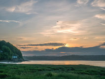 View of the Taf  tidal estuary at a beautiful sunrise Stock Images