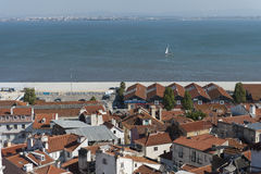 View of the Tagus river with sailboat in Lisbon Stock Photography