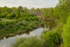 View of the taiga Siberian river Vagai. Spring landscape royalty free stock photo