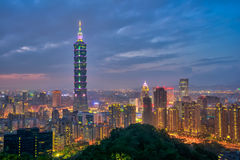 View of Taipei Cityscape at night Royalty Free Stock Photos