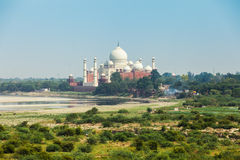 The view of Taj Mahal from Agra Fort, India Stock Photo