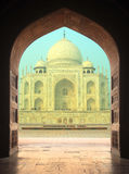 View on Taj Mahal mausoleum from arch Royalty Free Stock Images