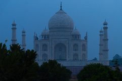 View of Taj Mahal from Mehtab Bagh at night Stock Image