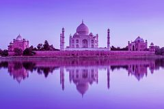 Taj Mahal during sunset in Agra, India stock image