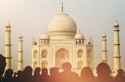 View Of Taj Mahal With Tourist Silhouettes Concept Stock Images
