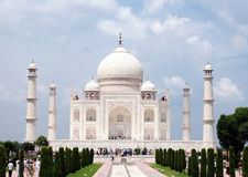 A view of Taj Mahal. The Taj Mahal is a white marble mausoleum located in Agra, Uttar Pradesh, India. It was built by Mughal emperor Shah Jahan in memory of his Stock Image