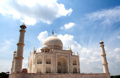 A view of Taj Mahal. The Taj Mahal is a white marble mausoleum located in Agra, Uttar Pradesh, India. It was built by Mughal emperor Shah Jahan in memory of his Royalty Free Stock Photos