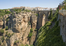 View of Tajo Bridge Ronda Spain. View if the Famous Bridge and Gorge at Ronda Spain Royalty Free Stock Image