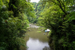 View of Takachiho gorge from above seeing river, boats at pier a Stock Images