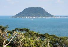 View of Takashima island in Karatsu bay - Karatsu city, Japan. View of Takashima island in Karatsu bay from Karatsu castle hill - Karatsu city, Saga prefecture royalty free stock photo