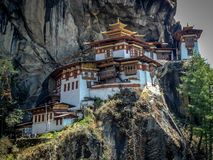 View of Taktshang Monastery or tigers nest on the mountain in Paro, Bhutan stock images