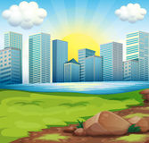 A view of the tall buildings under the bright sun. Illustration of a view of the tall buildings under the bright sun Stock Photo