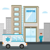 View of a tall hospital building with ambulance and doctor.. Royalty Free Stock Photo