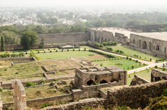 Gardens, Golcanda Fort. View from the tall ramparts overlooking part of the gardens at Golcanda Fort, Hyderabad, India.  The lawns are laid out in traditional Royalty Free Stock Photography