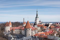 View of Tallinn Old Town. City wall and tower from Patkuli Viewing Platform Royalty Free Stock Image