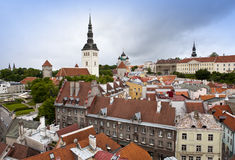 View of Tallinn, roofs of houses, St. Nicholas' Church and Alexander Nevsky Cathedral. Royalty Free Stock Images