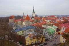 View of Tallinn`s Old Town which is one of the best preserved medieval cities in Europe and is listed as a UNESCO World Heritage stock photography