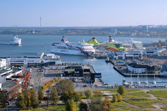View of the Tallinn's port and ferry boats Stock Images