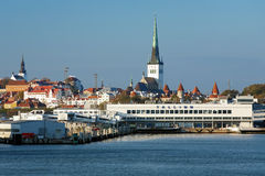 View of the Tallinn's port and Old Town, Estonia Royalty Free Stock Images