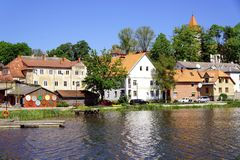 View of Talsi, Latvia in spring. View of Talsi town from the lake in sunny spring day Royalty Free Stock Photos