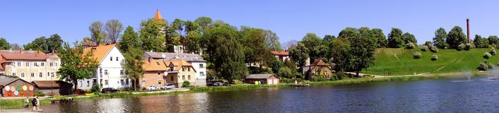 View of Talsi, Latvia in spring. View of Talsi town from the lake in sunny spring day Stock Images