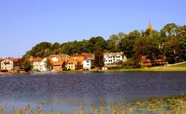 View of Talsi, Latvia in spring. View of Talsi town from the lake in sunny spring day royalty free stock photo