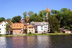 View of Talsi, Latvia in spring. View of Talsi town from the lake in sunny spring day Stock Photo
