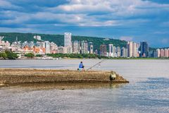 View of Tamsui city buildings. And ocean in Taipei Royalty Free Stock Photo