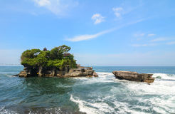 View of Tanah Lot temple on the sea in Bali, Indonesia Stock Images
