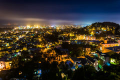 View from Tank Hill Park on a foggy night  Stock Photo