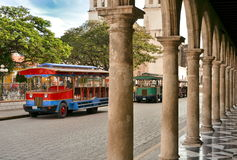View of tansport on main square in Campeche, Mexico. Royalty Free Stock Photos