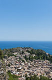 View on Taormina. From the Madonna della Rocca church. In the background Greek Theatre Royalty Free Stock Image