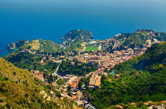 View of Taormina from Castelmola Stock Image