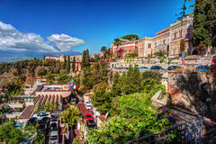 View of Taormina - famous resort in Sicily, Italia. Royalty Free Stock Image
